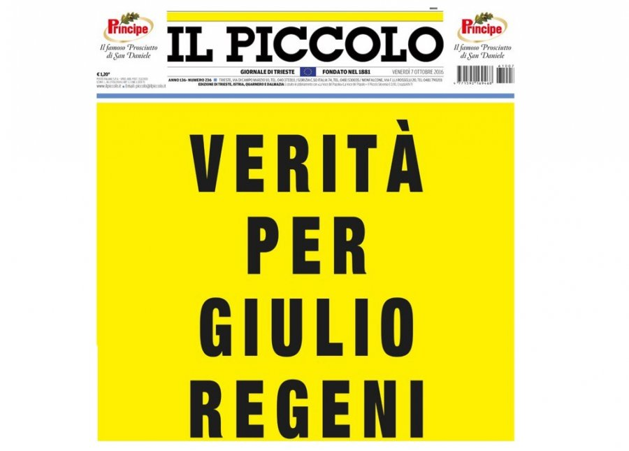 Trieste, la risposta della Regione: spunta lo striscione Verità per Regeni