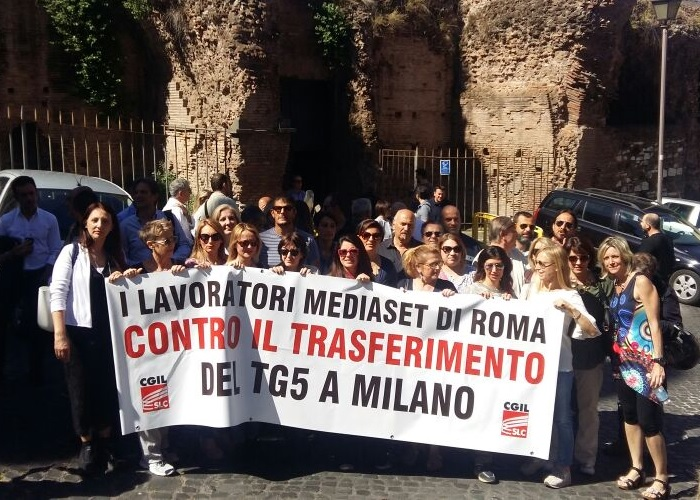 Sciopero al Tg5 contro il trasferimento da Roma a Milano
